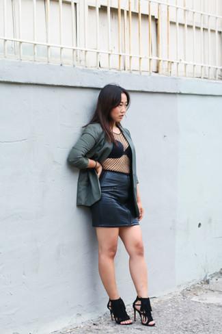 How to wear: olive blazer, black mesh long sleeve t-shirt, black leather mini skirt, black fringe suede heeled sandals
