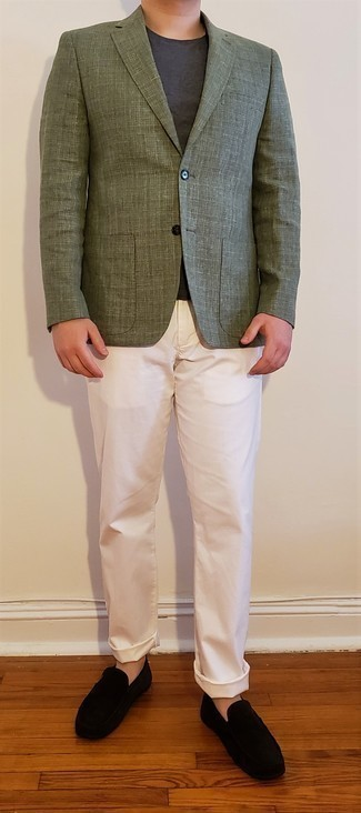 Driving Shoes Outfits For Men: This pairing of an olive check blazer and white chinos is a winning option when you need to look casually elegant in a flash. Driving shoes are guaranteed to give a touch of stylish effortlessness to your ensemble.