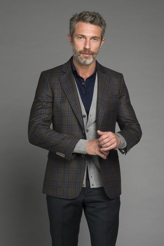How to wear: olive check wool blazer, grey cardigan, navy polo, black dress pants
