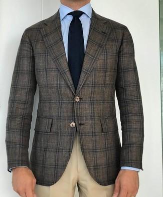 How to wear: olive plaid wool blazer, light blue dress shirt, beige dress pants, black knit tie