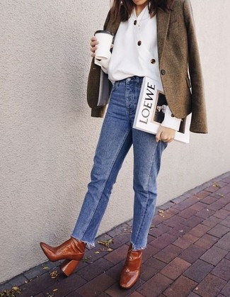 How to wear: olive wool blazer, white button down blouse, blue jeans, tobacco leather ankle boots