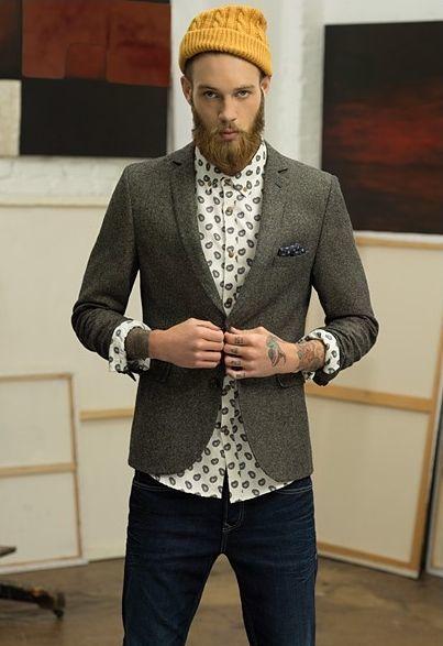 Men's Olive Wool Blazer, White Paisley Dress Shirt, Navy Jeans ...