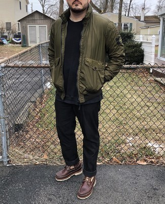 Olive Bomber Jacket Outfits For Men: Why not dress in an olive bomber jacket and black jeans? Both of these pieces are totally functional and will look good when paired together. If you need to effortlessly tone down your ensemble with a pair of shoes, add dark brown leather work boots to the mix.
