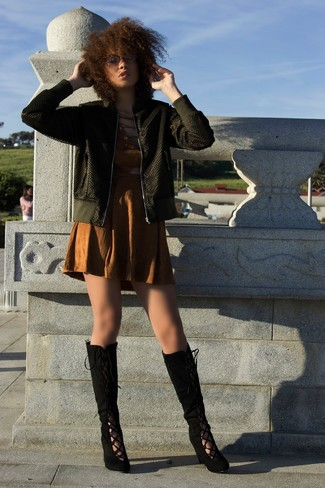 How to wear: olive bomber jacket, brown cutout sheath dress, black suede knee high boots