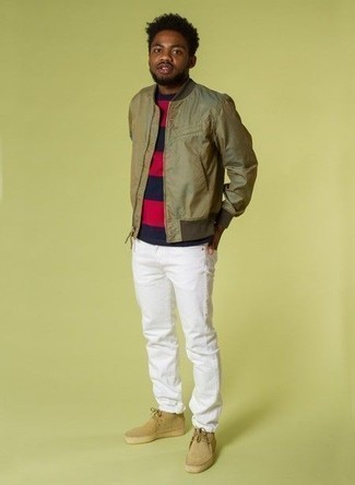 Olive Bomber Jacket Outfits For Men: Why not pair an olive bomber jacket with white jeans? Both items are very practical and will look great worn together. Add a pair of tan suede desert boots to the equation for extra style points.