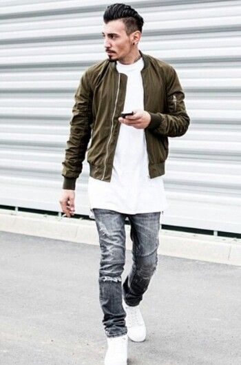 How to Wear an Olive Bomber Jacket (50 looks) | Men's Fashion