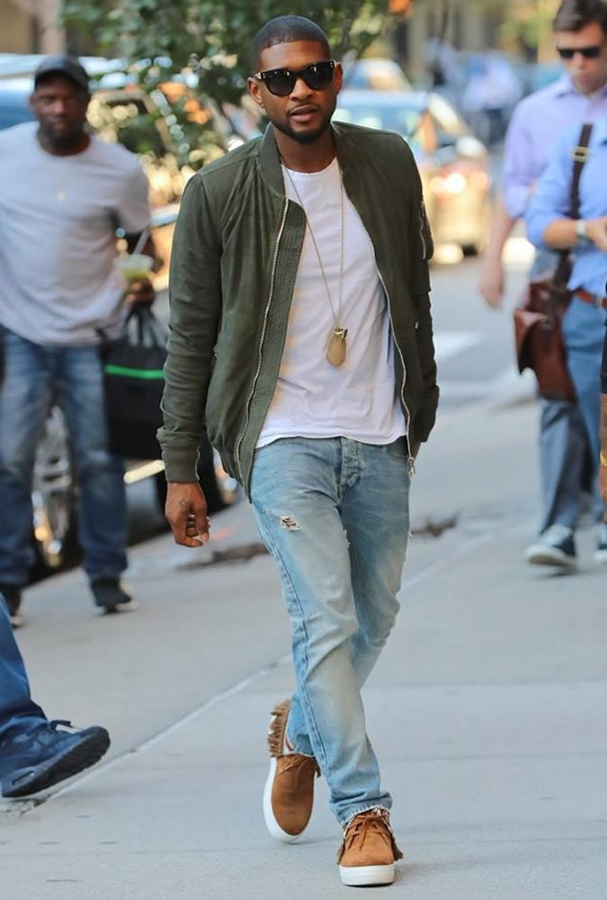 meet 3fa7e ef53d Usher wearing Olive Bomber Jacket, White Crew-neck T-shirt ...