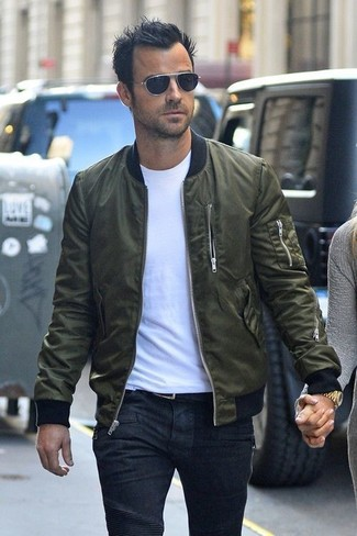 1bf9ddbf225 Justin Theroux wearing Olive Bomber Jacket, White Crew-neck T-shirt ...