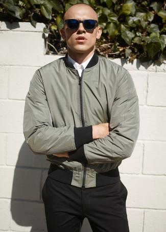 0034c09f634 Men's Olive Bomber Jacket, White Dress Shirt, Black Dress Pants ...