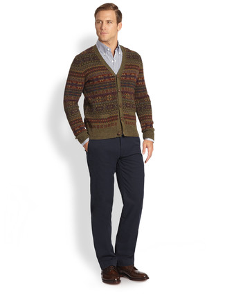 How to wear: olive fair isle cardigan, navy and white vertical striped long sleeve shirt, charcoal chinos, dark brown leather brogues