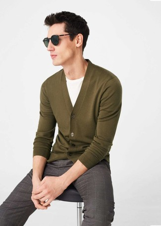 How to wear: olive cardigan, white crew-neck t-shirt, brown check dress pants