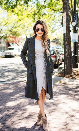 How to wear: olive check coat, grey bodycon dress, brown fringe suede ankle boots