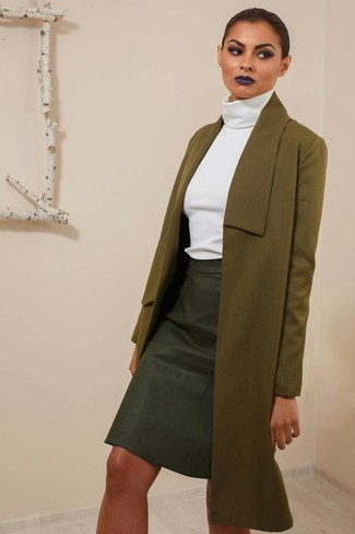 How to wear: olive coat, white turtleneck, black leather pencil skirt
