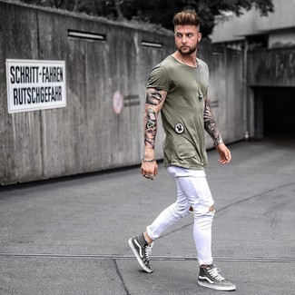 2c22adfe30c Men's Fashion › Fashion for 20 year old men Men's Olive Crew-neck T-shirt, White  Ripped Skinny Jeans, Grey High