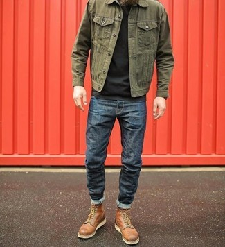 How to wear: olive denim jacket, black crew-neck t-shirt, navy jeans, brown leather casual boots