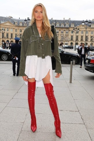 How to wear: olive denim jacket, white shirtdress, red leather over the knee boots, black leather crossbody bag