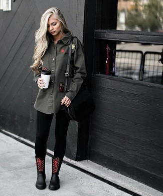 How To Wear a Denim Shirt With Leggings: Combining a denim shirt with leggings is a wonderful option for a laid-back ensemble. Balance out your look with more relaxed shoes, such as these black rain boots.