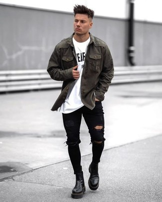 Black Ripped Skinny Jeans Outfits For Men: Show off your skills in menswear styling in this modern casual combination of an olive denim shirt and black ripped skinny jeans. For something more on the classier end to finish your ensemble, complement this outfit with black leather chelsea boots.