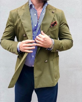 How to wear: olive double breasted blazer, white and blue vertical striped dress shirt, navy chinos, burgundy print pocket square