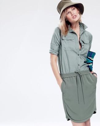Women's Olive Dress Shirt, Olive Mini Skirt, Teal Clutch, Olive Cotton Hat