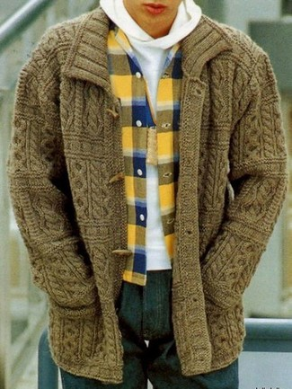 How to wear: olive duffle cardigan, white hoodie, yellow plaid flannel long sleeve shirt, navy jeans