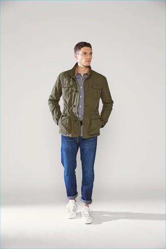 Men's Olive Field Jacket, Grey Long Sleeve Shirt, Blue Jeans, White Low Top Sneakers