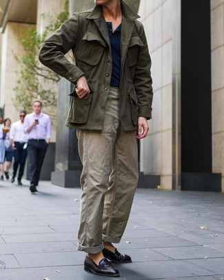 How to wear: olive field jacket, navy henley shirt, olive cargo pants, burgundy leather loafers