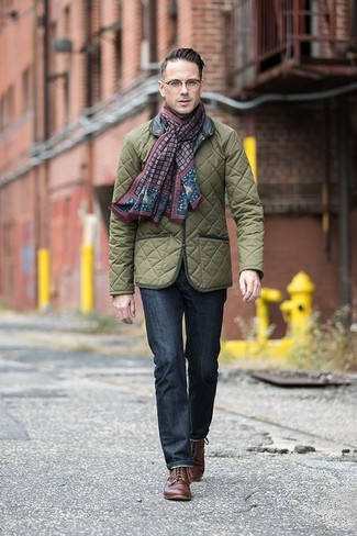 How to wear: olive quilted field jacket, navy jeans, brown leather derby shoes, burgundy print scarf