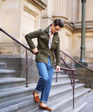 How to wear: olive linen field jacket, white polo, blue jeans, tobacco suede loafers