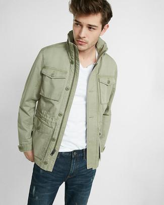 Men's Olive Field Jacket, White V-neck T-shirt, Navy Jeans