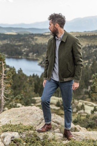 Which Casual Boots To Wear With a Grey Long Sleeve Shirt For Men: A grey long sleeve shirt and blue jeans have become indispensable closet styles for most men. Why not complete your getup with casual boots for an extra touch of elegance?