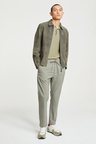 Mint Chinos Outfits: This casual pairing of an olive harrington jacket and mint chinos is very easy to pull together in next to no time, helping you look on-trend and prepared for anything without spending too much time rummaging through your closet. Feeling adventerous? Change things up a bit by slipping into white athletic shoes.