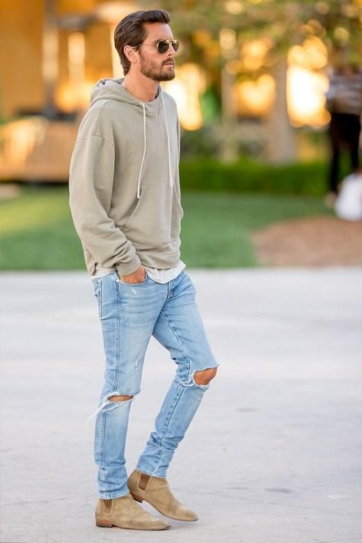 Light Blue Ripped Jeans | Men's Fashion