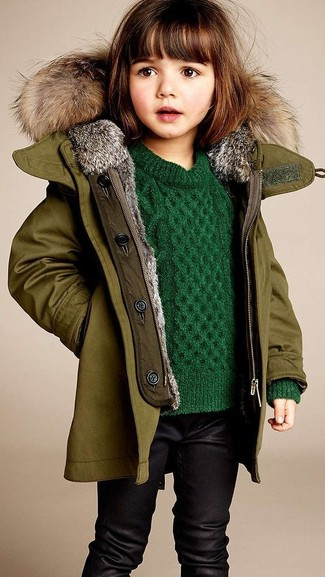 How to wear: olive jacket, green sweater, black leggings