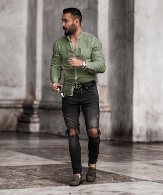 How to wear: olive long sleeve shirt, black ripped skinny jeans, dark green suede tassel loafers, black leather belt
