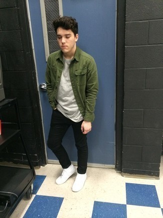 661+ Outfits For Men In Their Teens: Consider teaming an olive long sleeve shirt with black jeans for a standout ensemble. When it comes to footwear, go for something on the laid-back end of the spectrum and round off your look with white canvas high top sneakers. So if you're on a mission for outfit ideas on what to wear as you're coming of age, this combo is definitely worth saving for later.