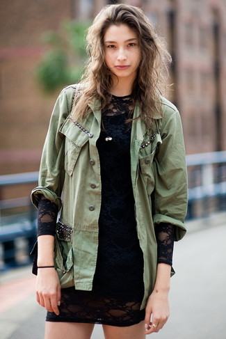 Wear an olive military jacket and a black lace bodycon dress to achieve a chic look. A killer getup that transitions easily into fall like this one makes it super easy to welcome the new season.