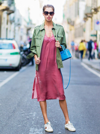 Rock a Tu Es Mon Tresor Tulle Flower Military Jacket with a hot pink cami dress for a relaxed take on day-to-day wear. White leather low top sneakers work spectacularly well with this getup. A practical illustration of transitional fashion, this ensemble is a staple this spring.