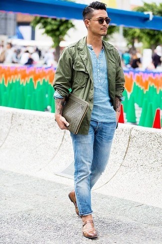 How to wear: olive military jacket, light blue linen long sleeve shirt, light blue jeans, brown leather monks