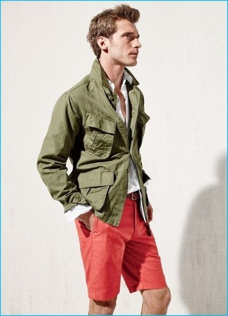 Men's Olive Military Jacket, White Long Sleeve Shirt, Red Shorts, Brown Woven Leather Belt