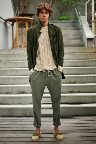 Perfect the smart casual look in true olive overcoat and olive chinos.  Cream canvas espadrilles