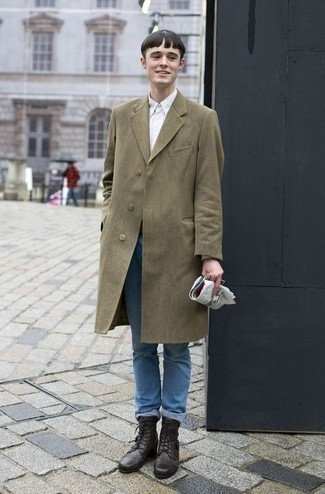 How to Wear an Olive Overcoat: If you don't take fashion lightly, go for refined style in an olive overcoat and light blue jeans. Add dark brown leather casual boots to the mix and off you go looking amazing.