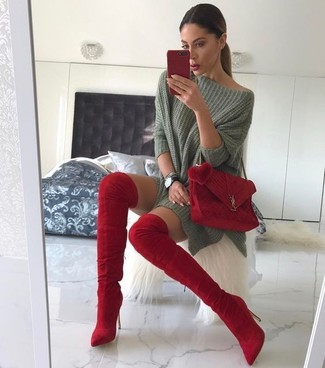 How to wear: olive oversized sweater, red suede over the knee boots, red suede crossbody bag, black leather watch