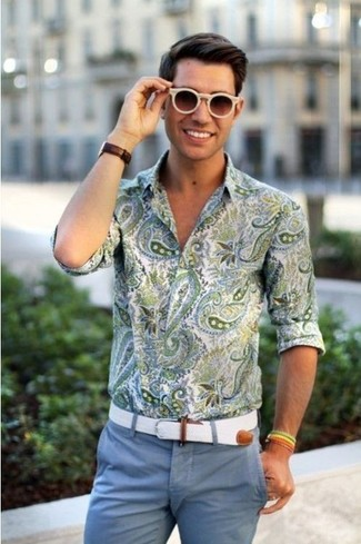 An olive green paisley long sleeve shirt and blue casual pants is a wonderful combination to carry you throughout the day.