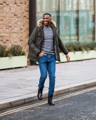 Black Leather Casual Boots Outfits For Men: For a laid-back and cool outfit, reach for an olive parka and blue jeans — these two items fit really nice together. To bring a little zing to your outfit, complement your look with black leather casual boots.
