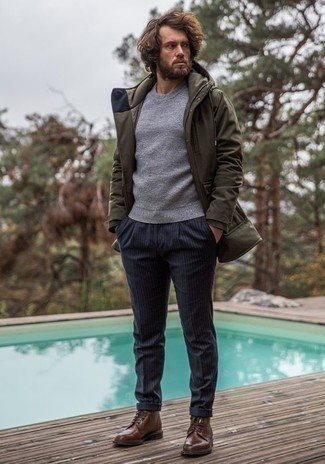 How to Wear an Olive Parka For Men: Go for a straightforward but casual and cool ensemble in an olive parka and navy vertical striped chinos. For something more on the classy side to finish your getup, complement your look with a pair of brown leather casual boots.