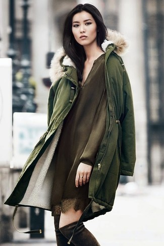 How to wear: olive parka, olive silk shift dress, dark brown suede over the knee boots