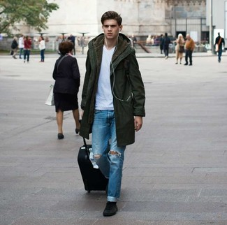 How to wear: olive parka, white v-neck t-shirt, blue ripped jeans, black suede high top sneakers