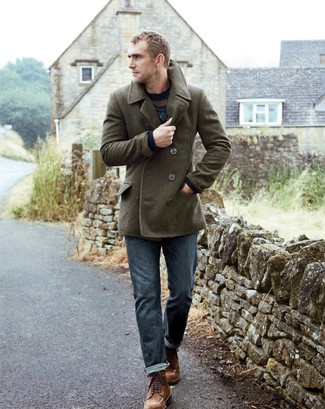 Stand out among other stylish civilians in a River Island Green Smart Wool Blend Pea Coat and blue jeans. Brown suede casual boots are a great choice to finish off the look. An awesome transition outfit like this one makes it so easy to embrace the new season.