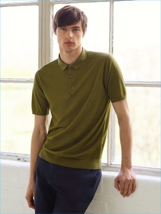 Men's Olive Polo, Navy Chinos